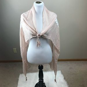Blush Pink with Lace Scarf